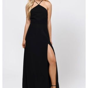 Black Lace Up Maxi Dress